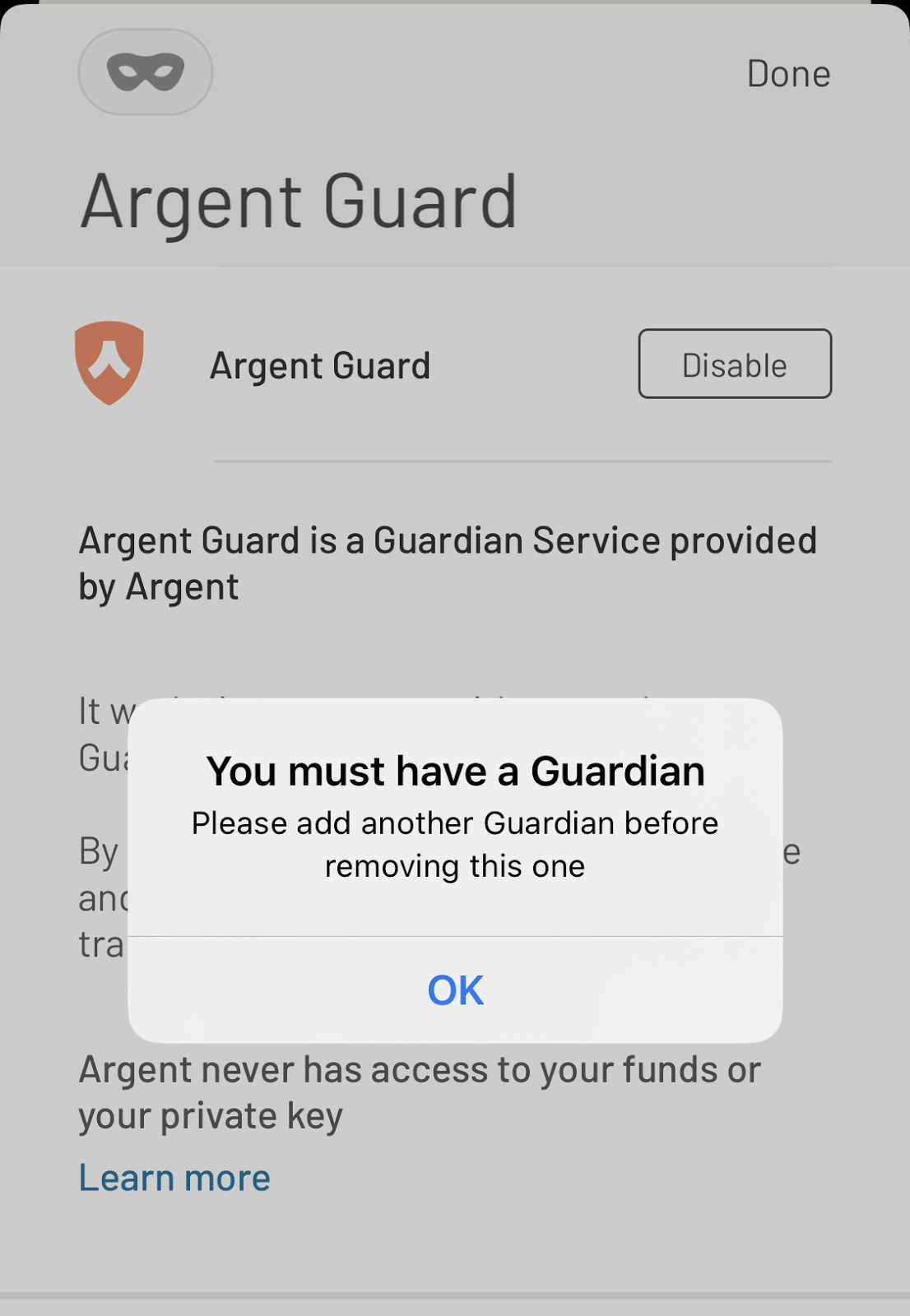 Screenshot from Argent app