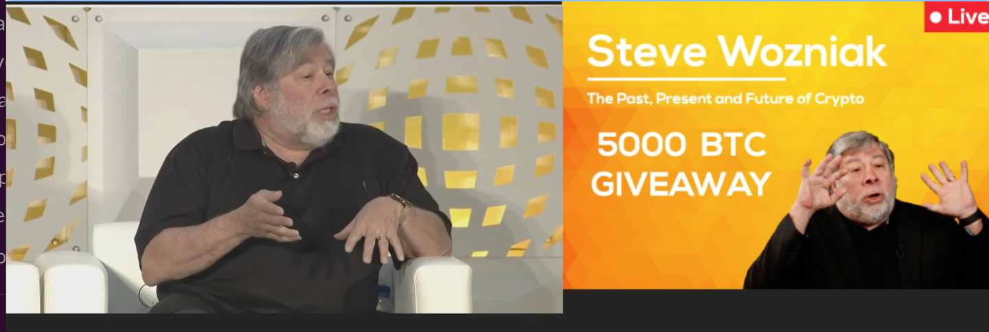 Screenshot of fake Bitcoin giveaway video provided by Cotchett, Pitre & McCarthy