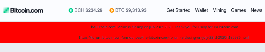 Bitcoin.com's forum closure alert