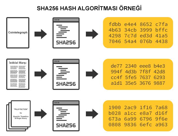 SHA-256 hash algoritması örneği