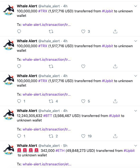 Screenshot of @whale_alert Twitter feed, Nov. 27