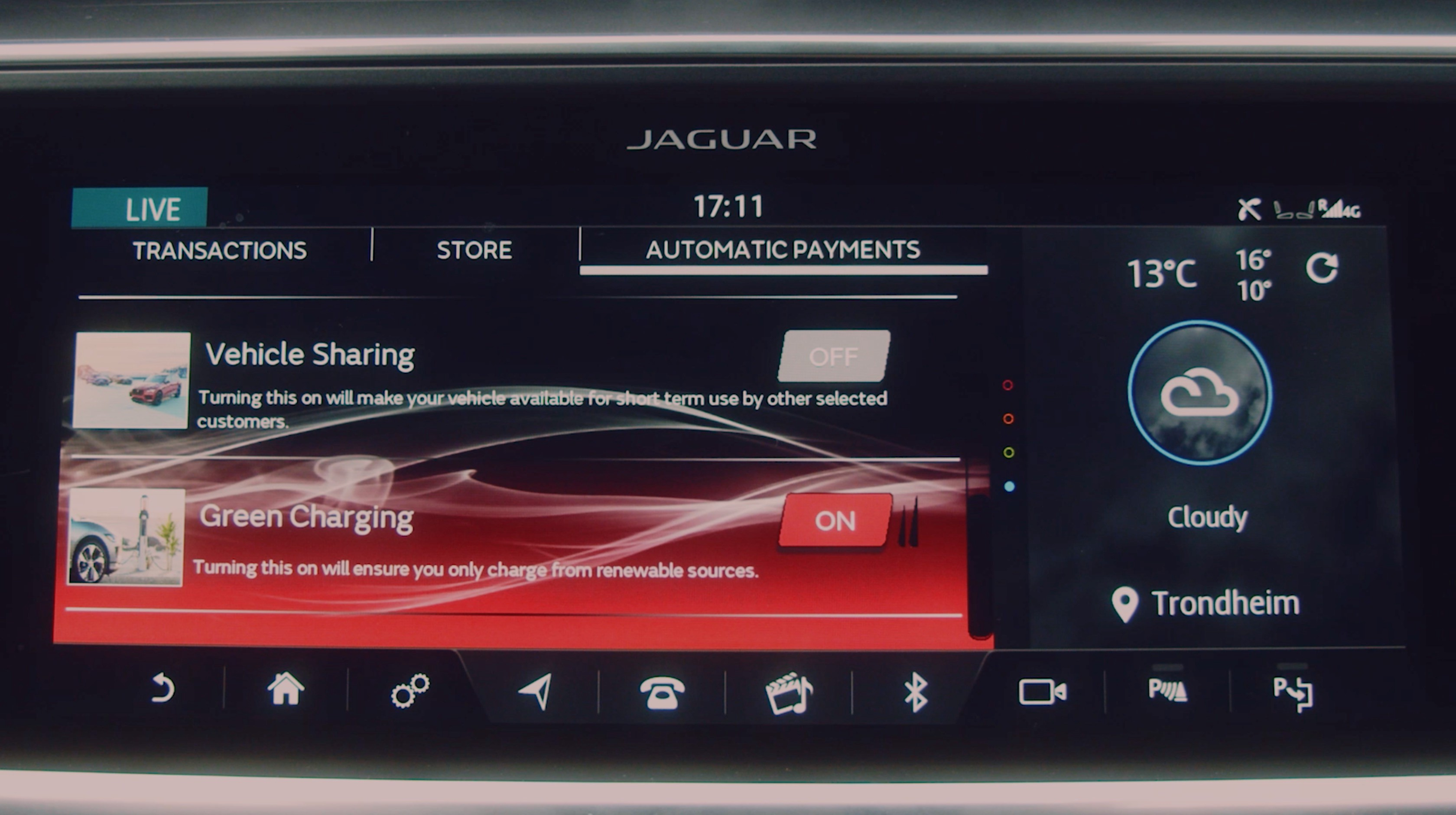 Interfaccia Jaguar I-Pace