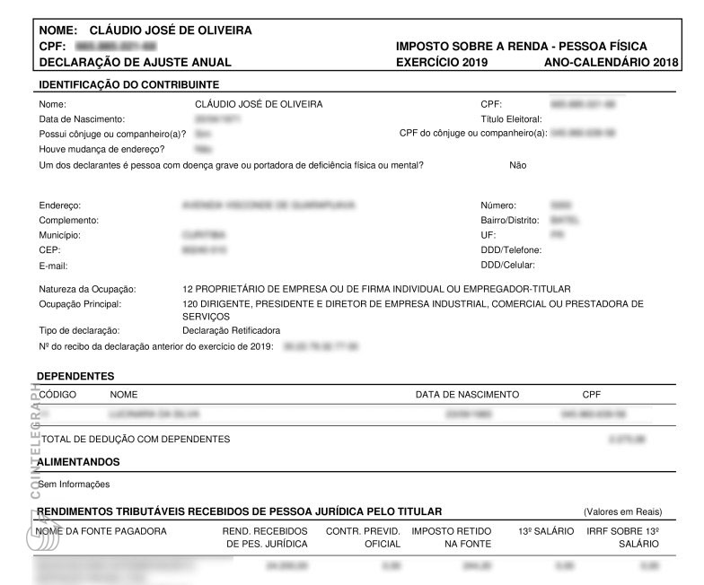 The cover page of Oliveira's 2018 tax filing