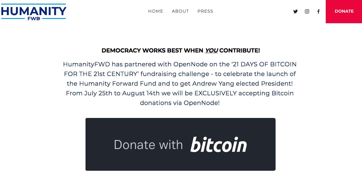 Humanity FWD bietet Bitcoin-Spenden an