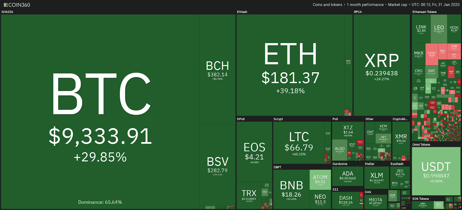 Cryptocurrency market monthly performance