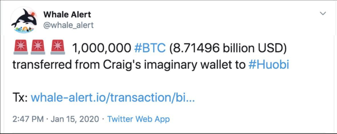 Fake Whale Alert tweet warning over a 1 million BTC transaction