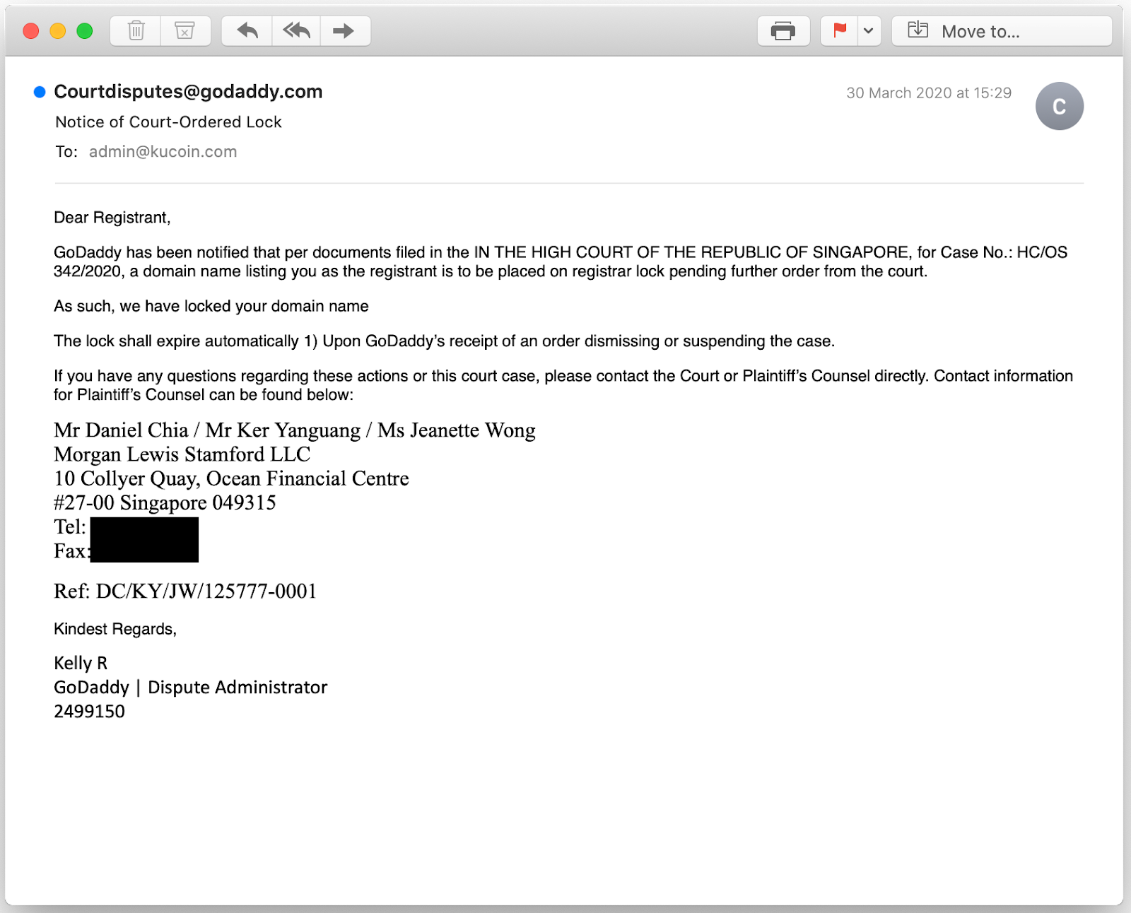 The email from GoDaddy to KuCoin, showing its domain locked by court order in Singapore