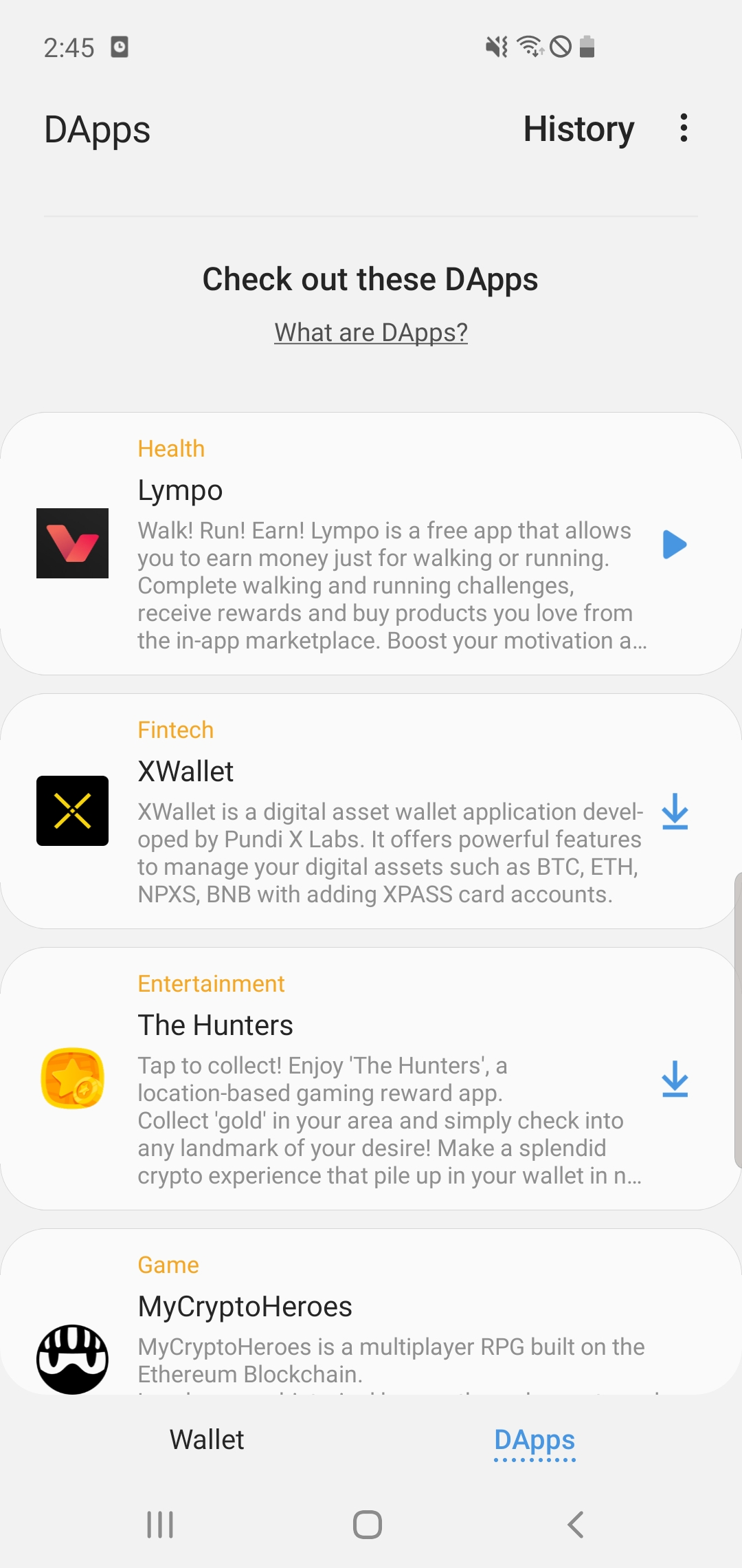 Quattro nuove applicazioni decentralizzate per Samsung Galaxy S10