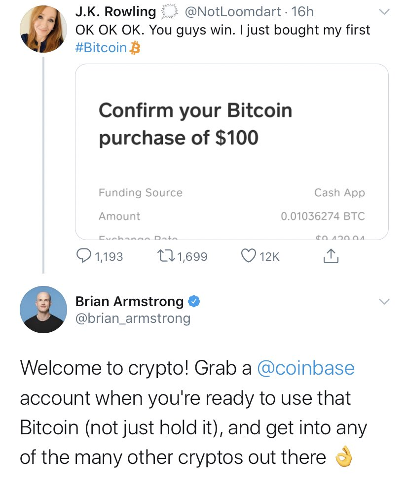 Coinbase CEO Tweet to Fake Rowling