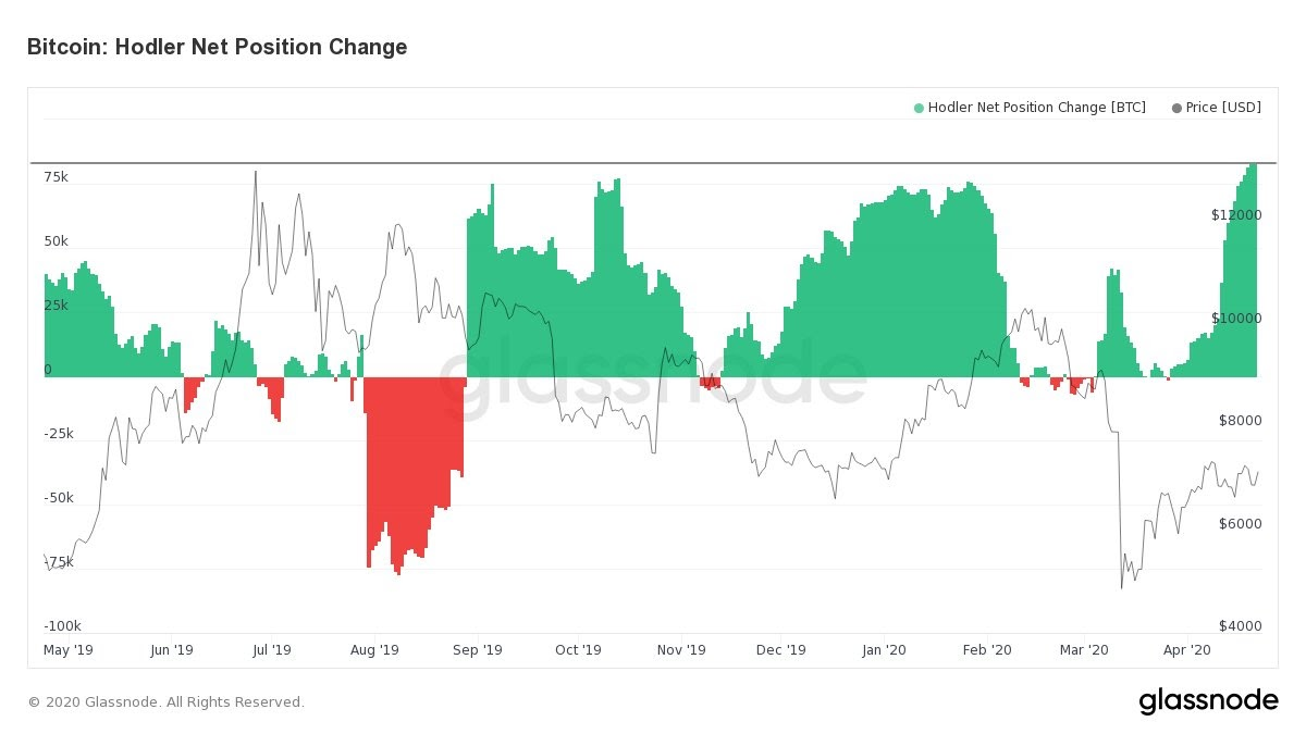 Hodler Net Position Change di Bitcoin