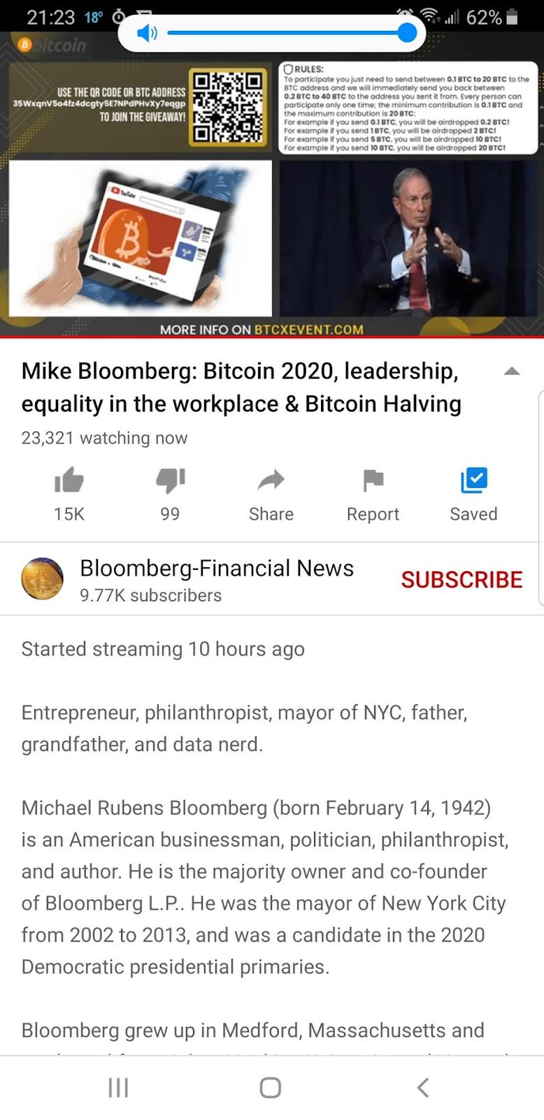 Screenshot della diretta su YouTube
