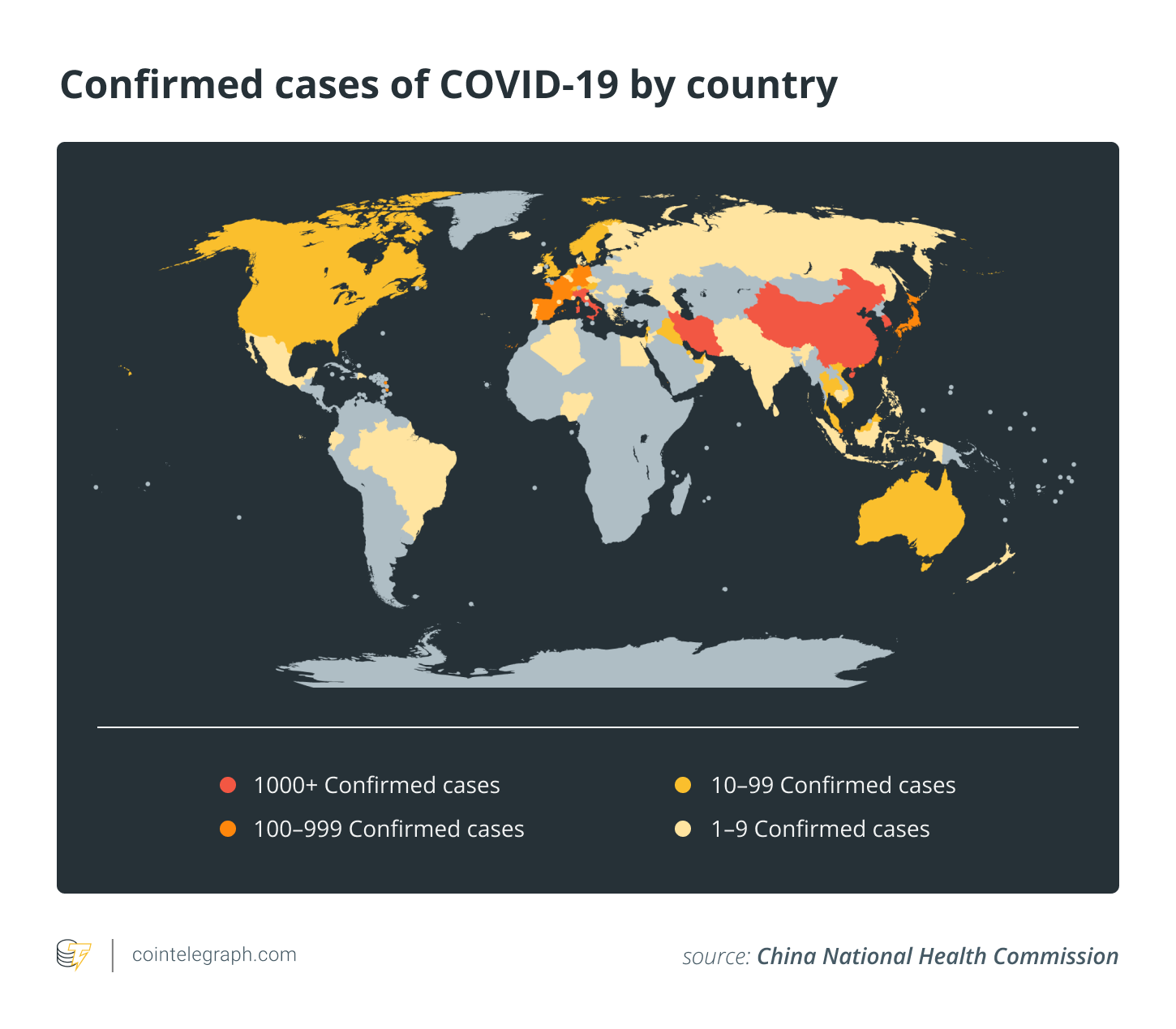 Confirmed cases of COVID-19 by country