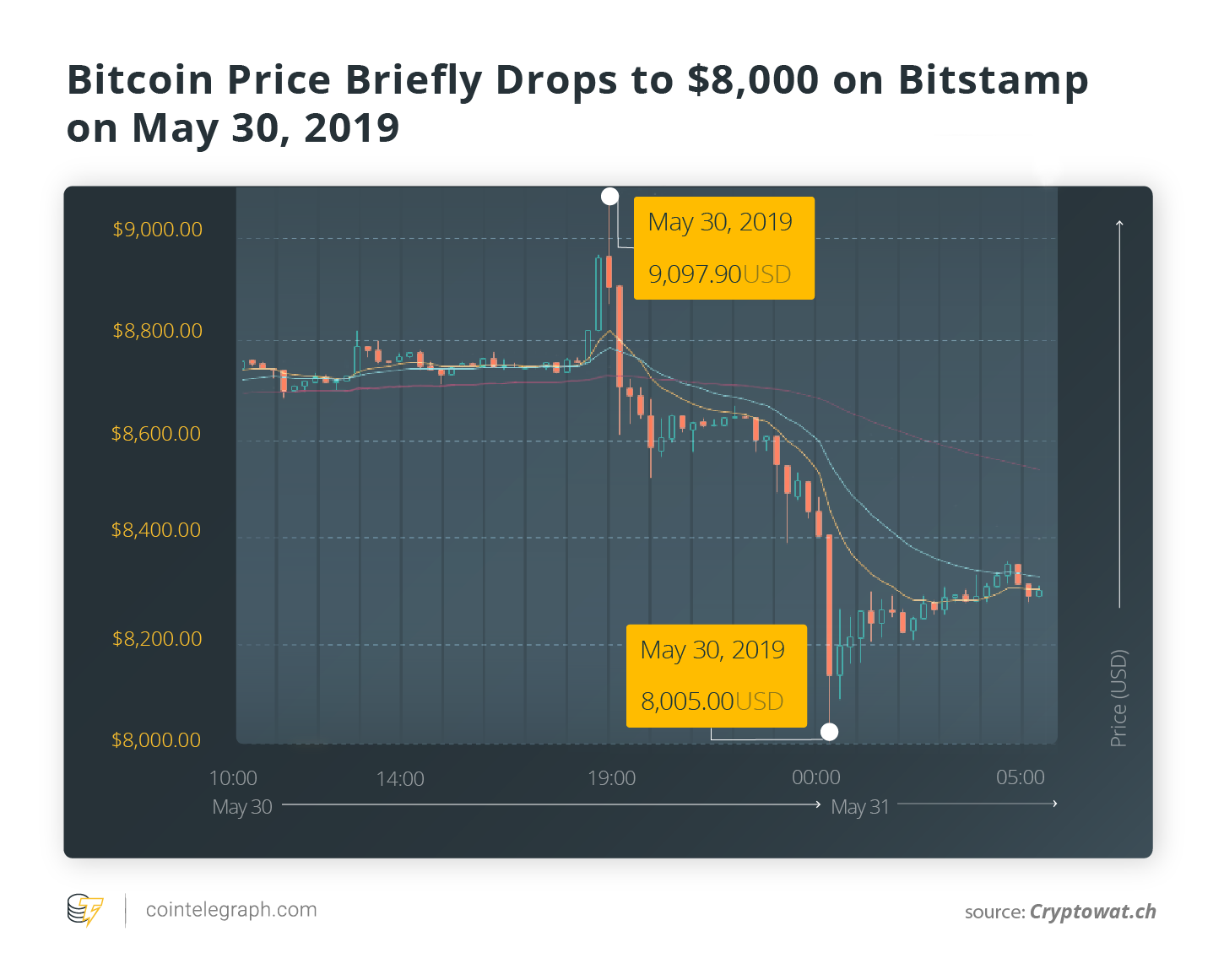 Bitcoin Price Briefly Drops to $8,000 on Bitstamp on May 30, 2019