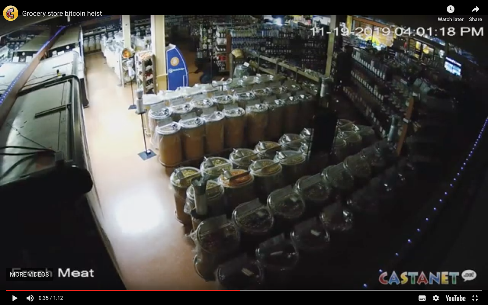 """CCTV footage of Bitcoin ATM robbery at """"Simply Delicious Food Market"""" in Vernon"""
