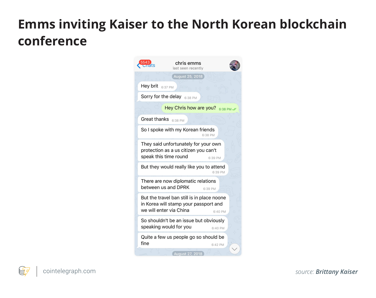 Emms inviting Kaiser to the North Korean blockchain conference