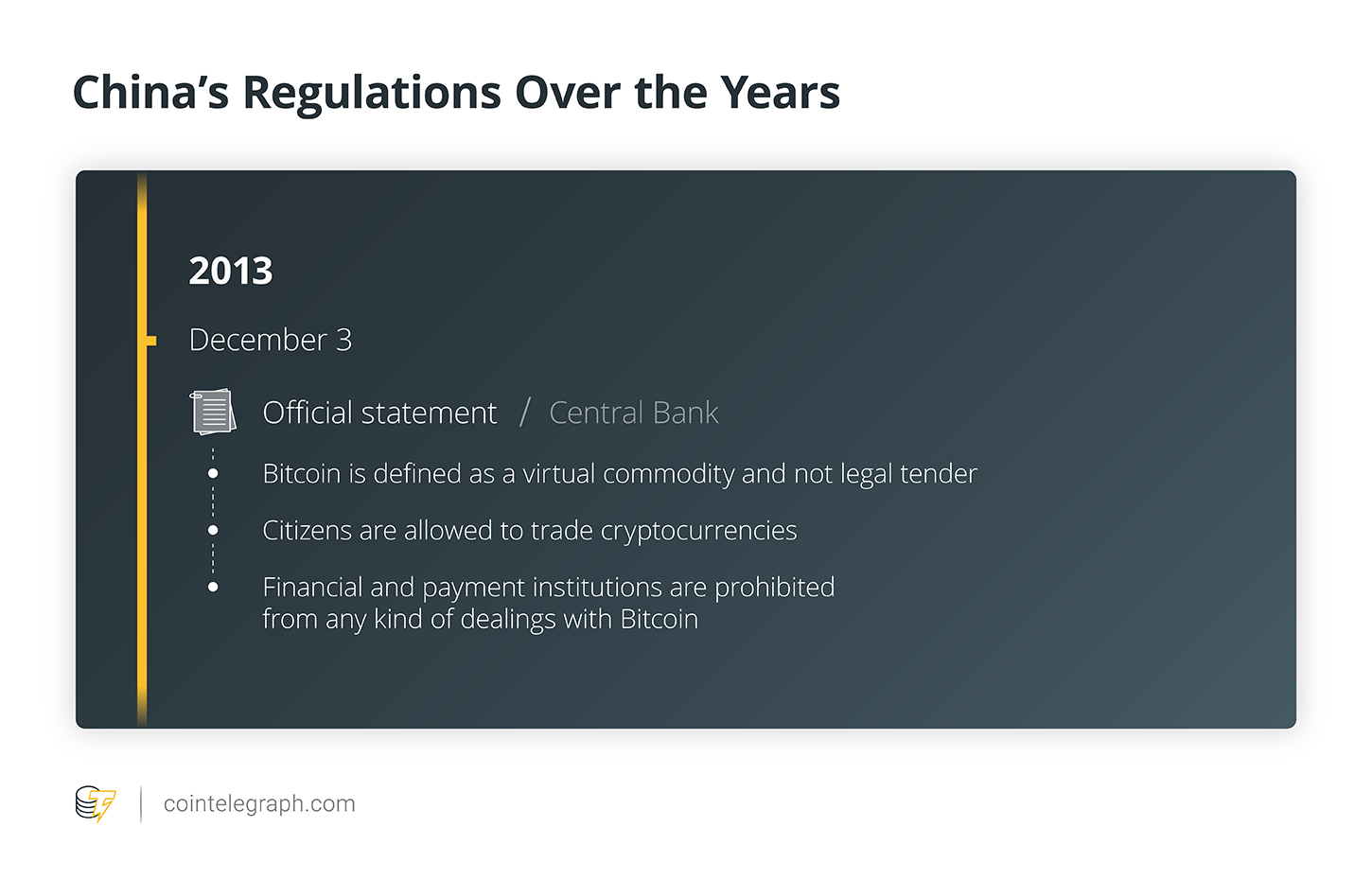 2013: Restrictions on financial institutions' Bitcoin dealings, stark warnings about financial stability threats, but a hands-off approach to crypto trading