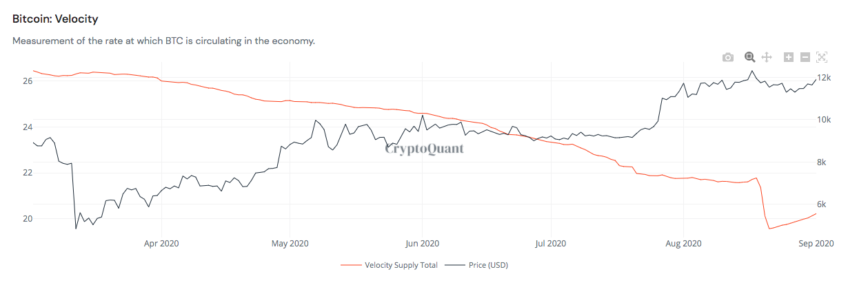 Bitcoin money supply velocity vs. price chart
