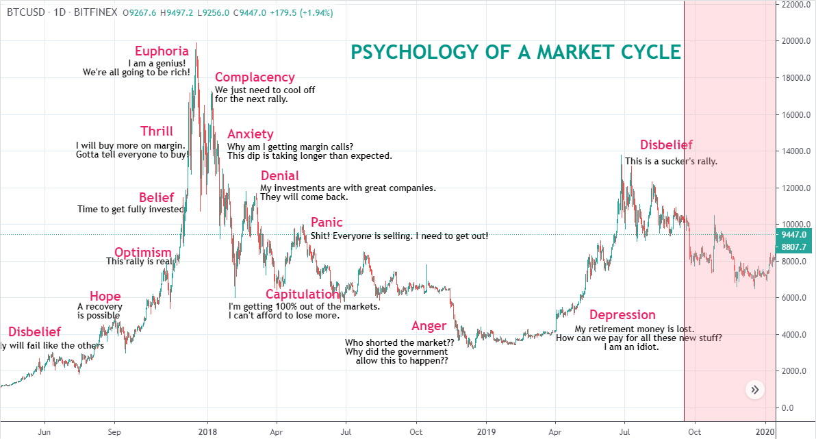 La psicologia di un ciclo di mercato e la zona belief
