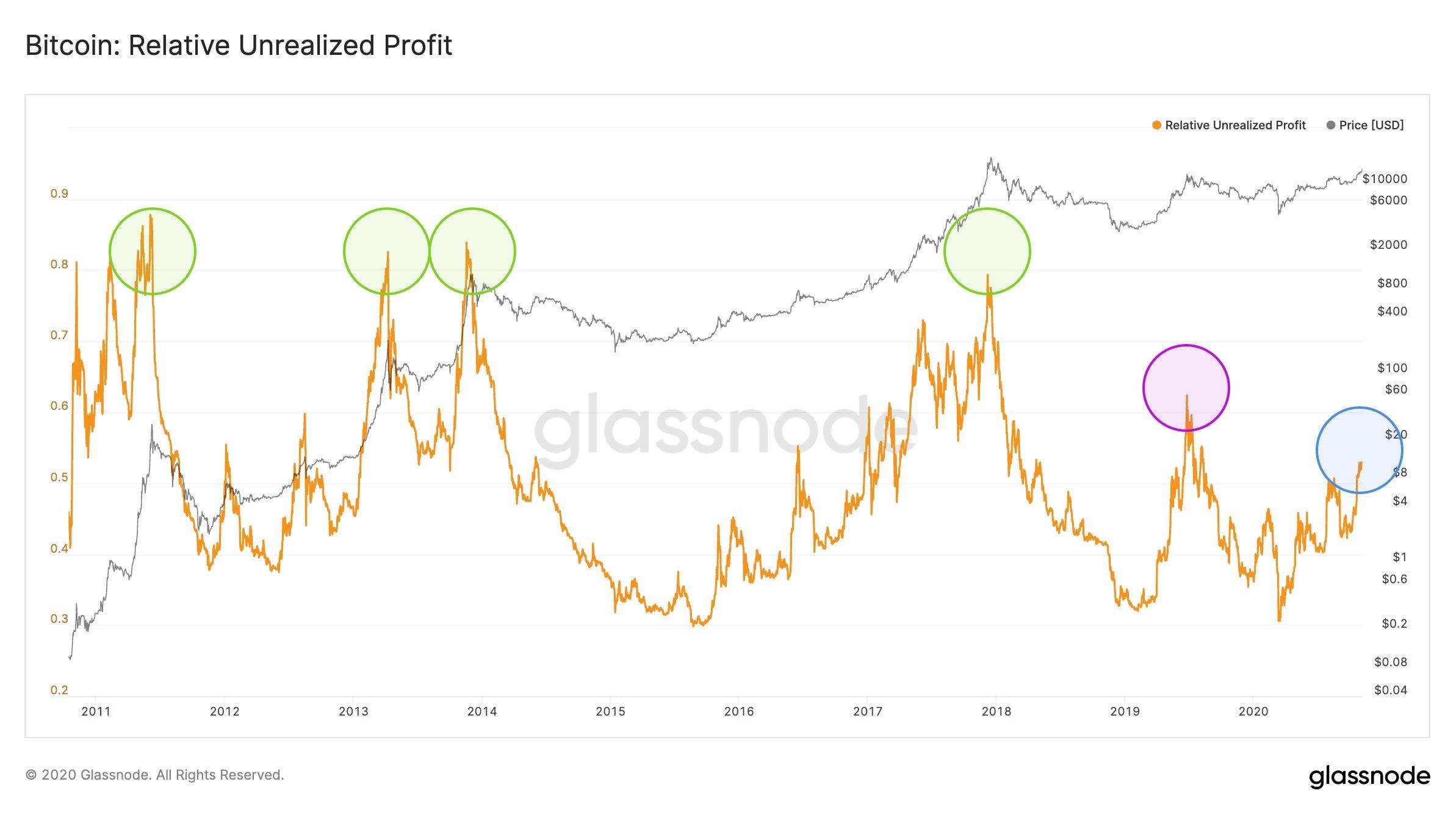 Relative Unrealized Profit di Bitcoin