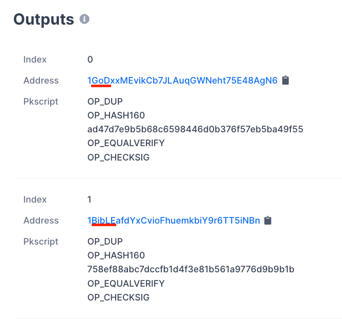 Addresses outputs. Source: Blockchain.com