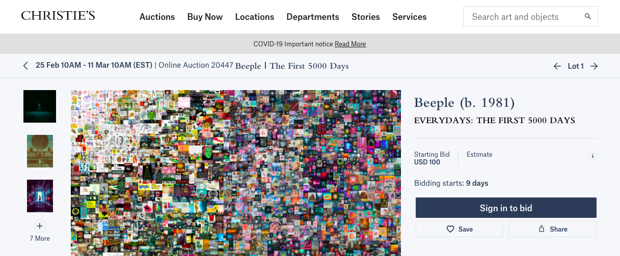 Christie's auctions its first purely digital artwork in form of blockchain token