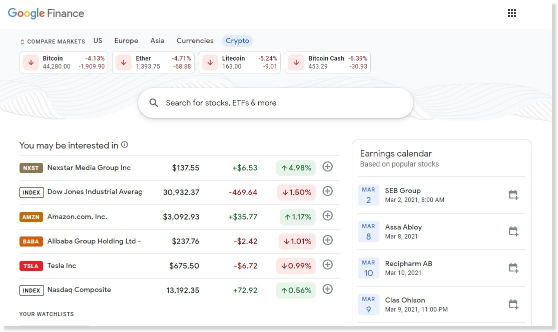 Gli utenti di Google Finance possono ora visualizzare i prezzi delle criptovalute