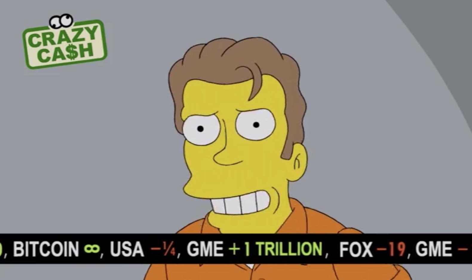 Bitcoin llega a Springfield: un episodio de Los Simpson muestra el precio de BTC subiendo hasta el infinito