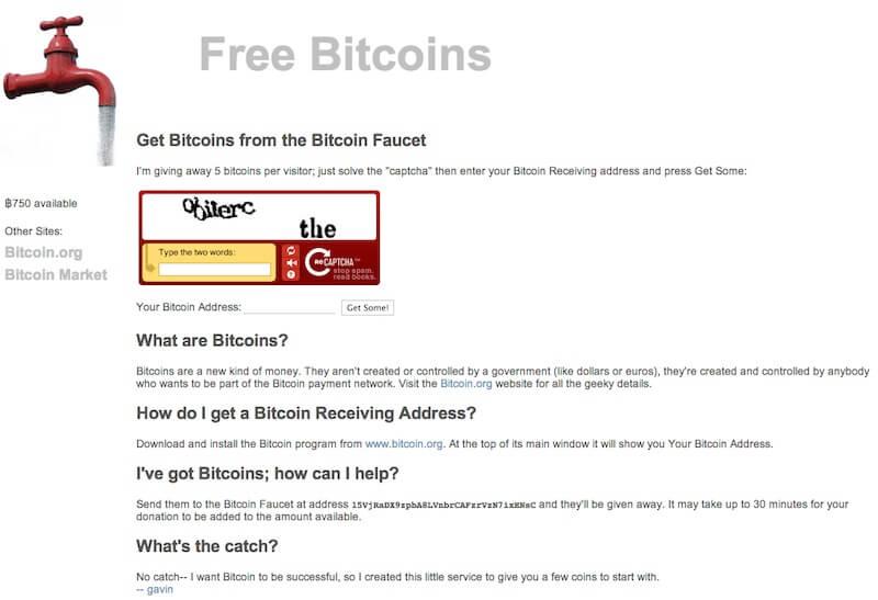 Il sito web Bitcoin Faucet