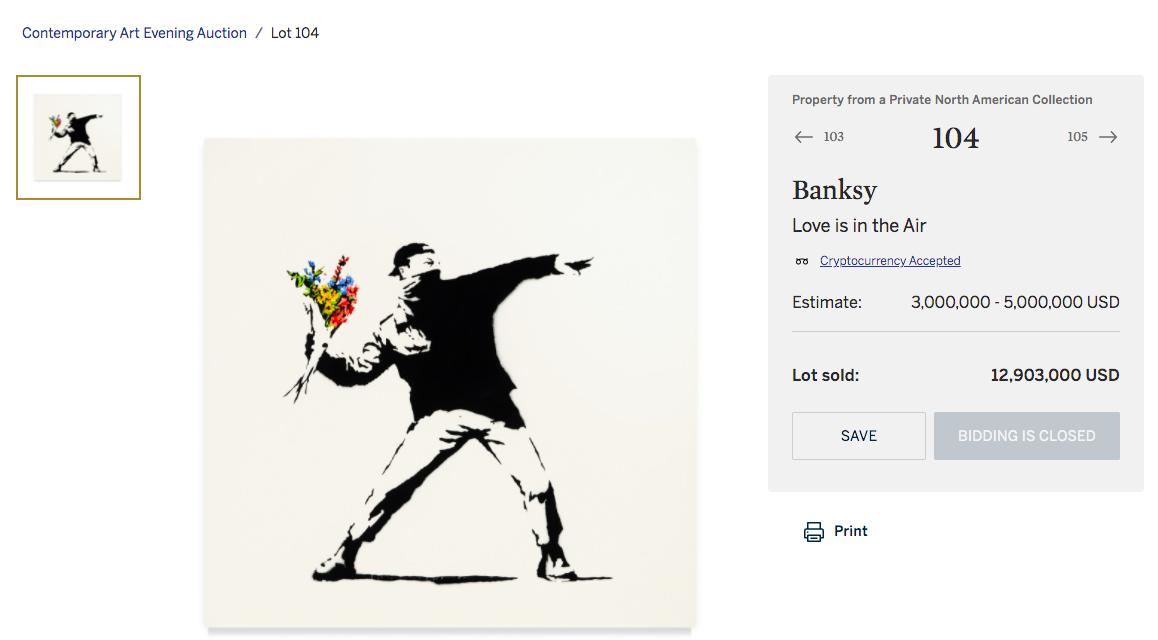 Криптовалютный аукцион Sotheby's продает искусство Бэнкси за 13 миллионов долларов