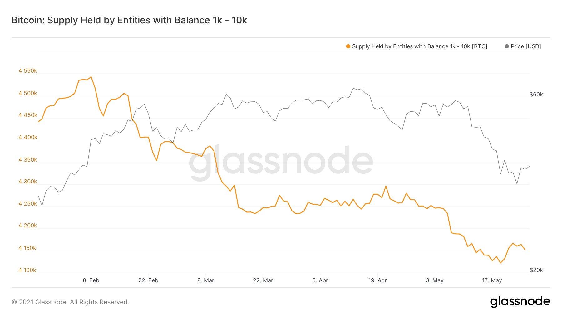 Le entità con un saldo tra 1.000 e 10.000 BTC sono calate dopo l'investimento in Bitcoin di Tesla
