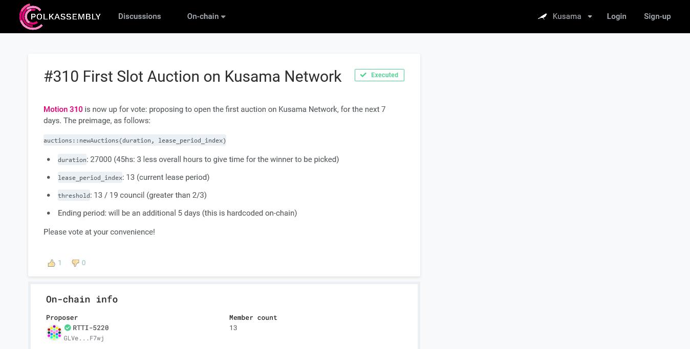 La prima asta di slot sul network di Kusama è stata approvata