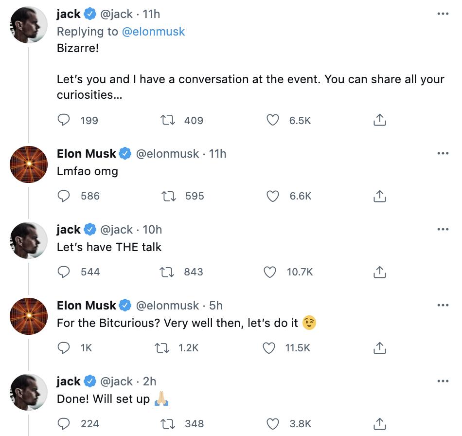 Jack Dorsey sei Dank Elon Musk tritt bei Bitcoin Konferenz als ...