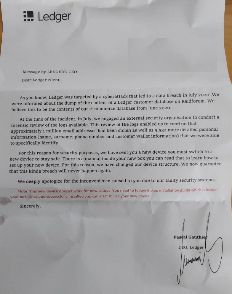 Lettera fraudolenta presumibilmente scritta e firmata dal CEO di Ledger, Pascal Gauthier