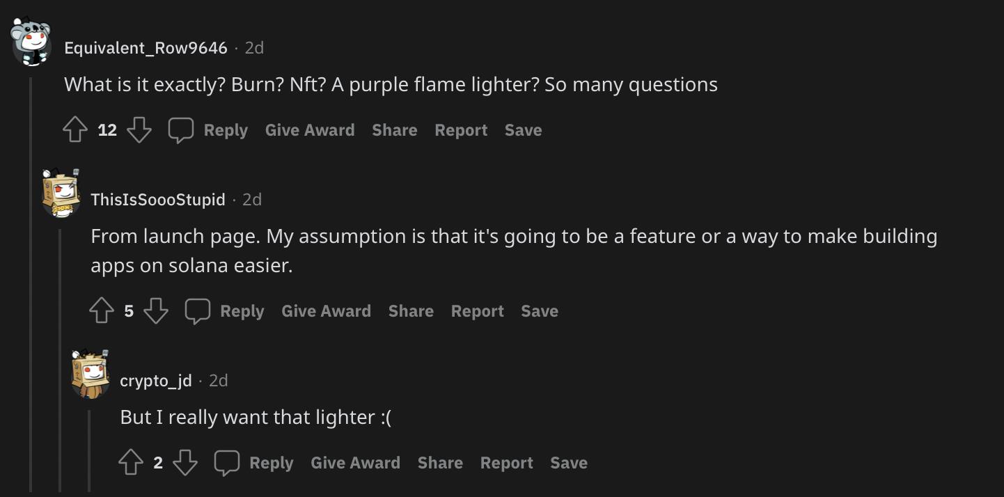 Commenti su Ignition dalla pagina ufficiale della comunità di Solana su Reddit