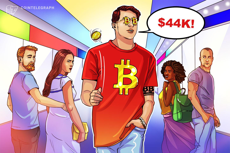 Bitcoin erases May crash losses as BTC price rebounds to $44K