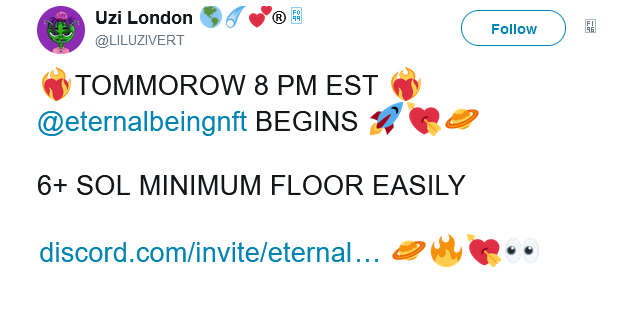 Eternal Beings NFT prices plunge after rapper Lil Uzi deletes promo Twitter posts2
