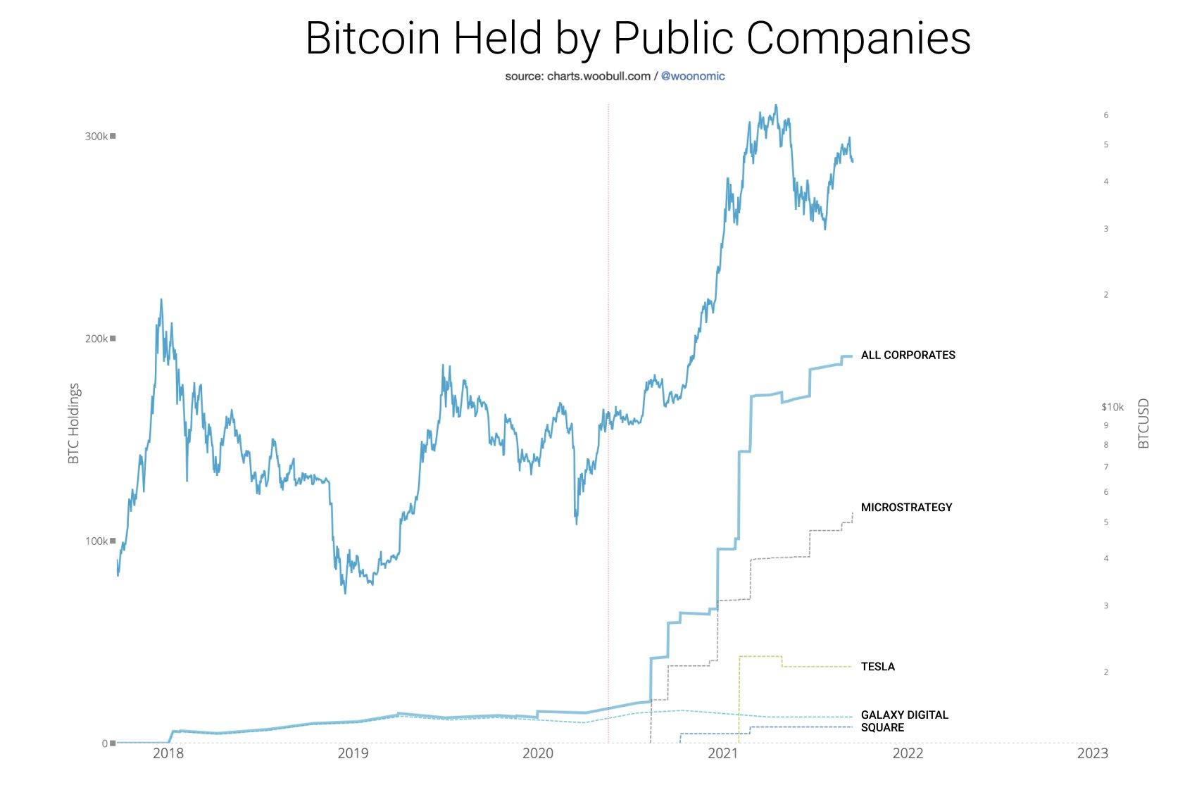 Grafico annotato delle riserve di BTC nel bilancio di società pubbliche